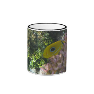 Eclipse Butterfly Fish Swimming By Coral Ringer Mug