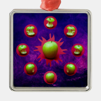 Eclipse Of The Green Star Silver-Colored Square Ornament