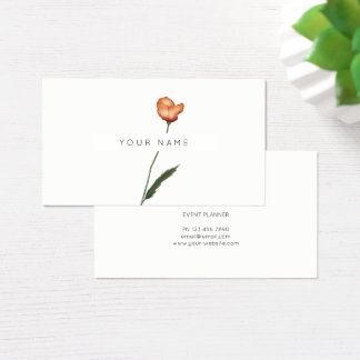 Eco Botanic Poppy Seed Green Roses Flowers Business Card