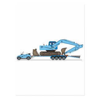 Eco Car Crane Trailer Postcard