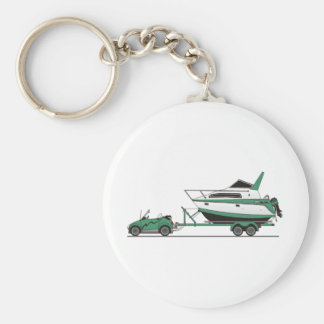 Eco Car Power Boat Basic Round Button Keychain