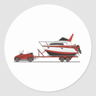 Eco Car Power Boat Classic Round Sticker