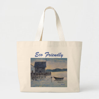 Eco Friendly Blue Boat Painting Jumbo Tote