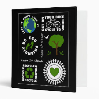 Eco Friendly Go Green Love Planet Earth Themed 3 Ring Binders