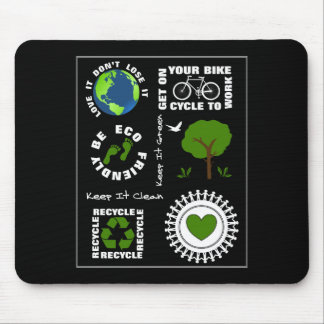 Eco Friendly Go Green Love Planet Earth Themed Mouse Pad