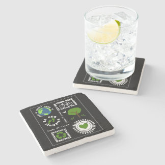 Eco Friendly Go Green Love Planet Earth Themed Stone Coaster