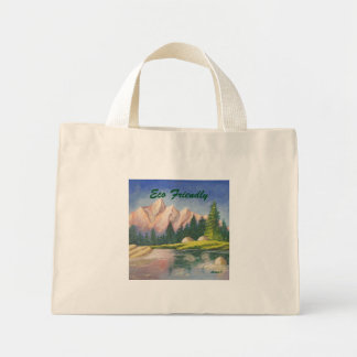 Eco Friendly Pink Mountain Painting Tiny Tote
