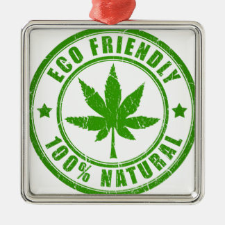 Eco Friendly Silver-Colored Square Ornament