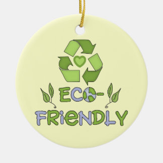 Eco-Friendly Tshirts and Gifts Double-Sided Ceramic Round Christmas Ornament