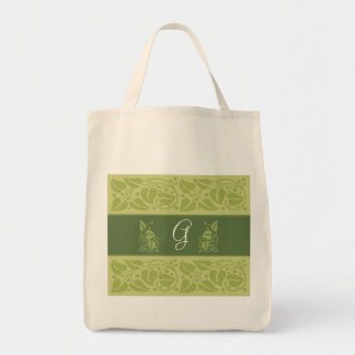 Eco Green Monogram Grocery Tote