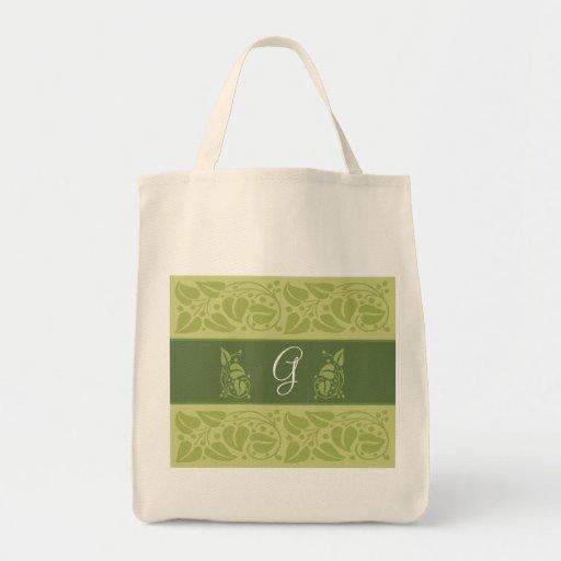 Eco Green Monogram Grocery Tote Tote Bag