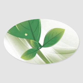 eco-leaves-vector oval sticker