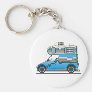 Eco Pick Up Camper Blue Basic Round Button Keychain