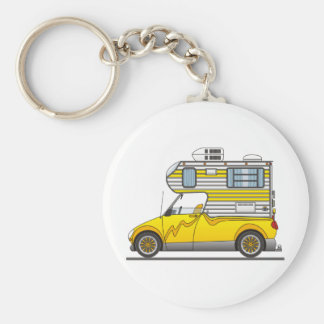 Eco Pick Up Camper Yellow Basic Round Button Keychain