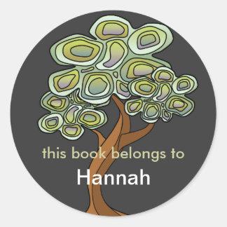 Eco Tree Book Label Round Sticker