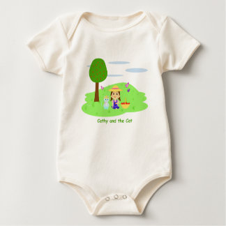 "Ecological Mameluco ""Cathy and the Cat"" and apples Baby Bodysuit"