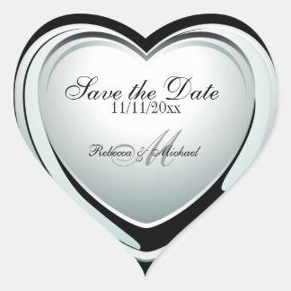 Économies argentées de pendentif de coeur la date autocollants en cœur