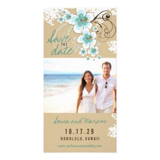 Économies bleues de mariage de plage de ketmie la modèle pour photocarte