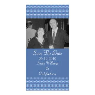 économies bleues de motif la date photocartes personnalisées