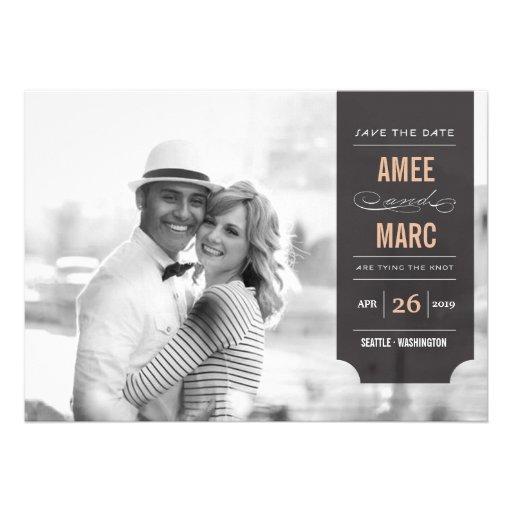 Économies chics élégantes de photo d'étiquette cartons d'invitation personnalisés