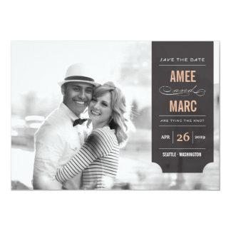 Économies chics élégantes de photo d'étiquette carton d'invitation  12,7 cm x 17,78 cm