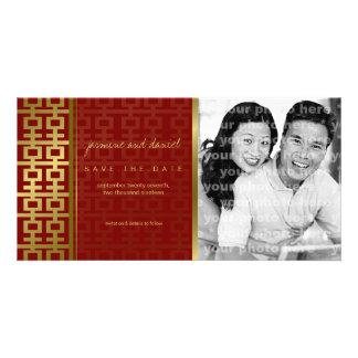 Économies chinoises de rouge de bonheur de double cartes de vœux avec photo