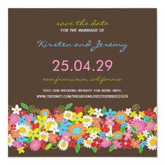 Économies colorées de photo de jardin de fleurs de carton d'invitation  13,33 cm