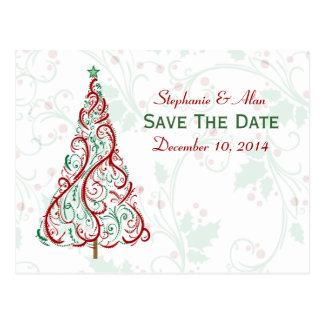 Économies d arbre de Noël la carte postale de date