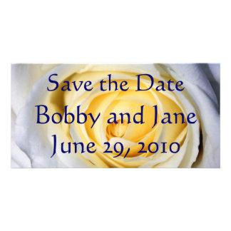 Économies de blanc la date cartes de vœux avec photo
