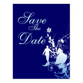 Économies de bleu le faire-part de mariage de date carte postale