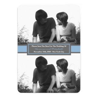 Économies de duo de photo de cadre central la date carton d'invitation  12,7 cm x 17,78 cm