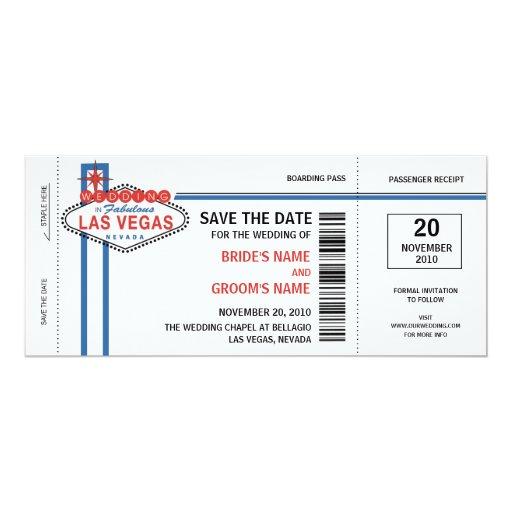 Économies de Las Vegas les invitations de date Carton D'invitation 10,16 Cm X 23,49 Cm