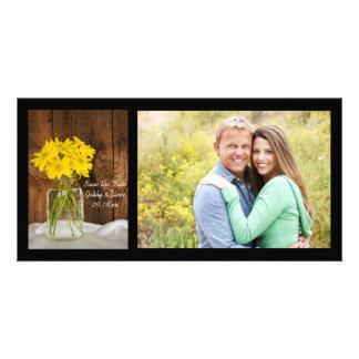 Économies de mariage campagnard de marguerites de cartes de vœux avec photo