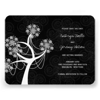Économies de mariage d hiver d arbre de fleur de faire-parts