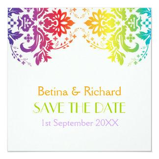 Économies de mariage damassé de couleurs carton d'invitation  13,33 cm