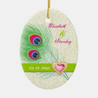 Économies de mariage de coeur de bijou de plume de décoration de noël