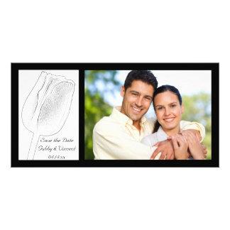 Économies de mariage de croquis de tulipe la date photocarte personnalisée