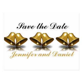 Économies de mariage de Noël l'or Bells de date Cartes Postales