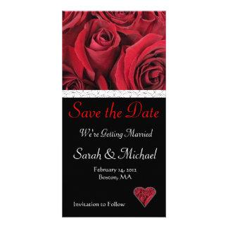 Économies de mariage de rose rouge la carte de dat photocarte