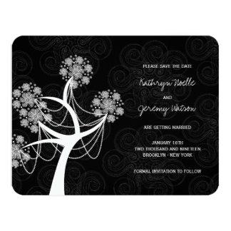 Économies de mariage d'hiver d'arbre de fleur de carton d'invitation 10,79 cm x 13,97 cm