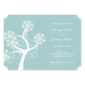 Économies de mariage d'hiver d'arbre de fleur de carton d'invitation  12,7 cm x 17,78 cm