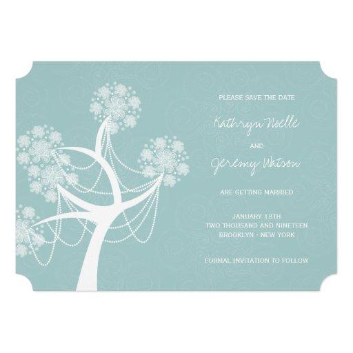 Économies de mariage d'hiver d'arbre de fleur de invitations personnalisées