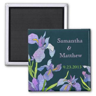 Économies de mariage d'iris la date magnet carré