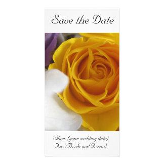 Économies de rose jaune la carte de date photocarte customisée