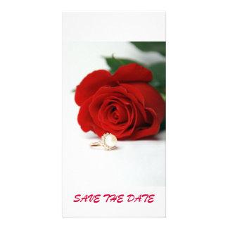 ÉCONOMIES de rose rouge de carte postale LA DATE Photocarte Personnalisée