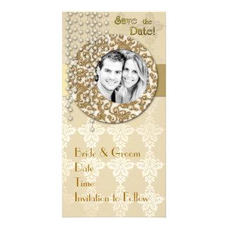 Économies de ruban d'or la date photocarte