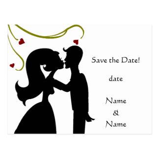 Économies de silhouette de jeunes mariés la carte