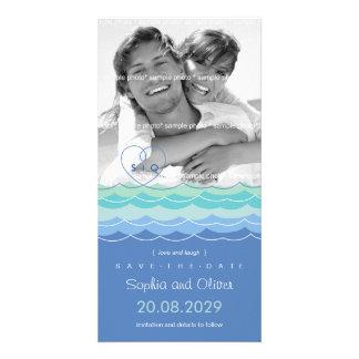 Économies dérangées de plage de coeur de vagues cartes de vœux avec photo