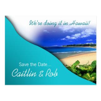 Économies d'Hawaï la date (océan d'aqua) Carte Postale