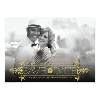 Économies élégantes de photo de Flourish vintage Carton D'invitation 12,7 Cm X 17,78 Cm